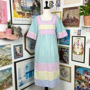 Vintage Seersucker Maxi Dress